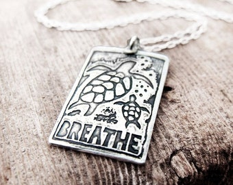 Sea turtles necklace in silver, sea turtle jewelry
