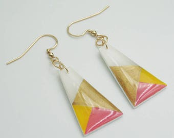 Color Block White, Pink and Yellow Triangle Earrings, Glossy Pyramid Drop Earrings, Lightweight Statement Earrings, Gold Geometric Jewelry