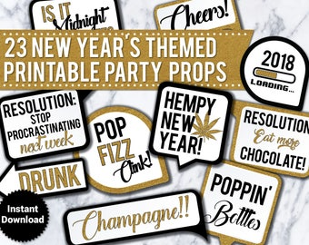 23 New Years Eve 2018 PRINTABLE Party Photo Booth Props - INSTANT DOWNLOAD