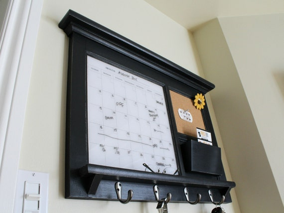 Kitchen mail family organizer monthly dry erase calendar for Wall mail organizer with cork board