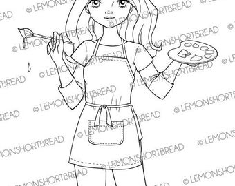 Digital Stamp Painter Artist Girl, Digi Download, For You, Graphic Clip Art, Coloring Page, Scrapbooking Supplies