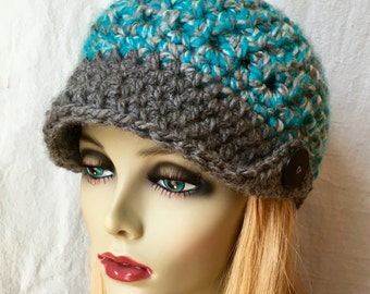 SALE Crochet Womens Hat, Newsboy, Teal and Grey, Beanie with Brim, Very Soft Chunky, Warm, Teens, Winter, Ski Hat, JE404NB2