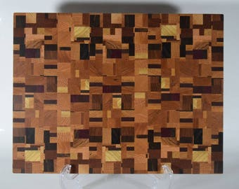 Chaotic or Random Pattern Wooden End Grain Cutting Board, #CB11