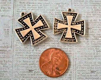 Crosses SILVER Pewter Antiqued Small Perfect for Earrings