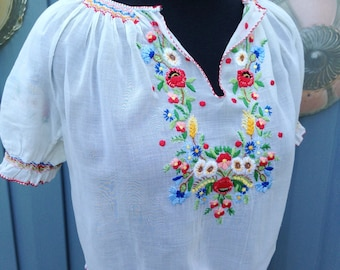 Vintage 1940's Embroidered Hungarian Blouse/ Boho Semi Sheer White Peasant Blouse/ Hand Embroidered Shirt