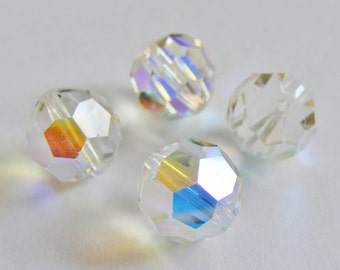 Aurora Borealis 10mm Beads / Vintage Swarovski Crystal / Art: 5000 / Jewellery making / Beading / Iridescent beads / Jewelry Supplies