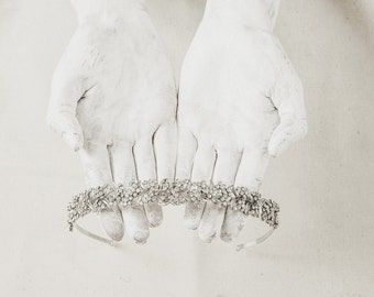 Rhinestone Bridal Headpiece - Wedding Tiara - Rhinestone Headband - Pearl Accessories - Wedding Headband - Rhinestone Tiara - Wedding Crown