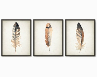 Watercolor Feathers Wall Art Print Set of 3 - Modern Home Decor - Tribal Native American Feather Giclee Poster - Watercolour Painting Art