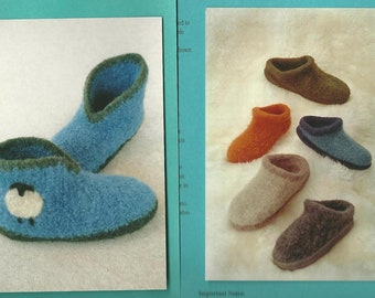 Fiber Trends Felted Wool Slippers and Clogs Pattern - Knit and Crocheted - Women and Mens sizing