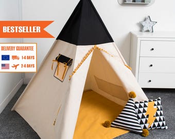 children teepee tent, kids play tent, tipi, teepee tent, set 6 elements indian wigwam HONEY