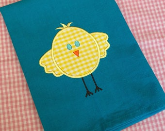 Easter Chick appliqued kitchen towel - easter - hostess gift - housewarming gift - happy gift
