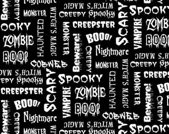 Ready, Set, Glow by Blank Quilting - Halloween Words - GLOW in the Dark Cotton Woven Fabric