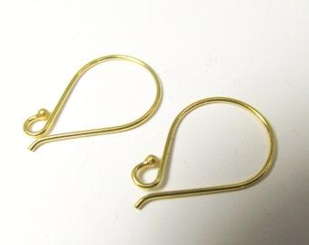 1 Pair Bali 22k Gold Vermeil Earring Wires - Jewelry Findings