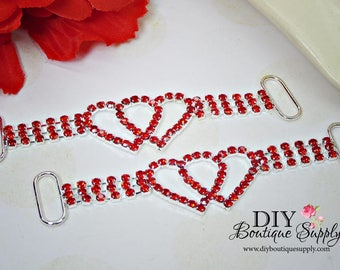 RED Heart Rhinestone headband Connectors Bikini Connectors Crystal RHinestone connectors Valentine's Day Wedding Bridal Accessories N172