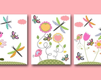 Birds Nursery Digital files Baby Girl Nursery Print Nursery Art Kids Art Baby Nursery Decor set of 3 8x10 ,11X14 INSTANT DOWNLOAD rose green