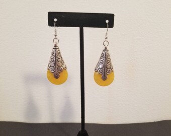 Silver and yellow Earrings