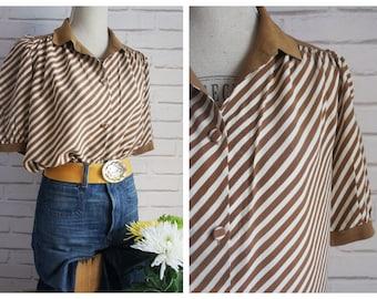 Diagonal Stripes Silk Vintage Blouse - 80s Silk Blouse.
