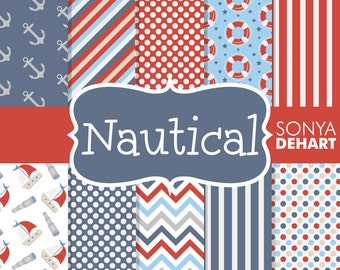 80% OFF SALE Nautical Digital Papers, Nautical Patterns, Nautical Backgrounds, Scrapbook Paper, Nautical Scrapbook, Scrapbook Page