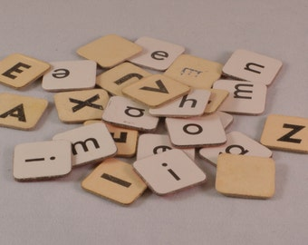 25 Vintage cardboard Scrabble tiles