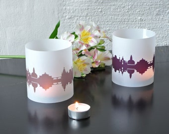 Light Covers DRESDEN Skyline City Light Luminary, 2 DRESDEN Tablelight Shade fume plum, Gift DRESDEN Lovers, Wedding Decor Candle Light