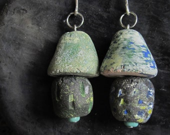 Chunky ceramic earrings, rustic clay earrings, primitive earrings, clay dangle earrings, artistic pendant earrings, raw ceramic earrings