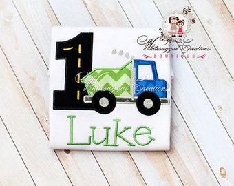 1st Birthday Dump Truck Shirt - Baby Boy First Birthday Outfit - Blue Green Dump Truck Embroidered Personalized Applique Monogram Bodysuit