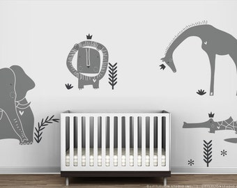 Grey Wall Decal Royal Safari Mural by LittleLion Studio. Fog. Grey Modern Baby Nursery Wall Stickers