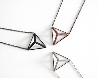 Pyramid  . Stained glass prism necklace. Triangle necklace. Geometric nacklace. Glass minimalist necklace