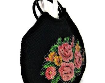 60s Beaded Purse, Black Beaded Bag, Floral Purse ,Floral Beaded, Beaded Pocketbook ,1960s Beaded Bag, Beaded Handbag , Vegan Friendly Bag