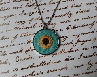 Sunflower necklace/pendant. Hand embroidered necklace/pendant. Hand embroidery.