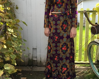 Vintage 60s 70s Country Set Crop Top Maxi Skirt Hippie Floral Free People Style