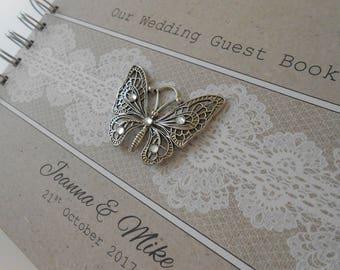 Personalised Vintage Silver BUTTERFLY Kraft WEDDING Guest Book Photo Album Scrapbook Burlap Lace Hessian