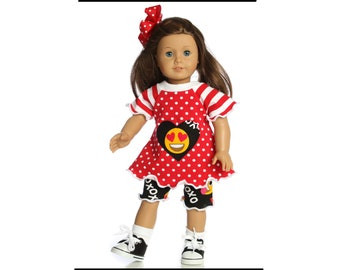 Doll clothes 18 inch American Made Emoji shorts outfit girl doll dress 15 inch doll dress 14.5 inch doll dress Shorties and top outfit