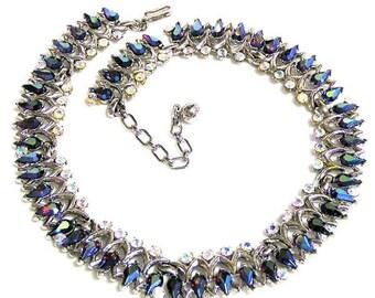 Trifari Red and Blue Aurora Borealis Necklace