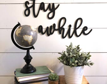 Stay Awhile Wall Decor Wood Cutout, Wooden Word Guest Room Decor