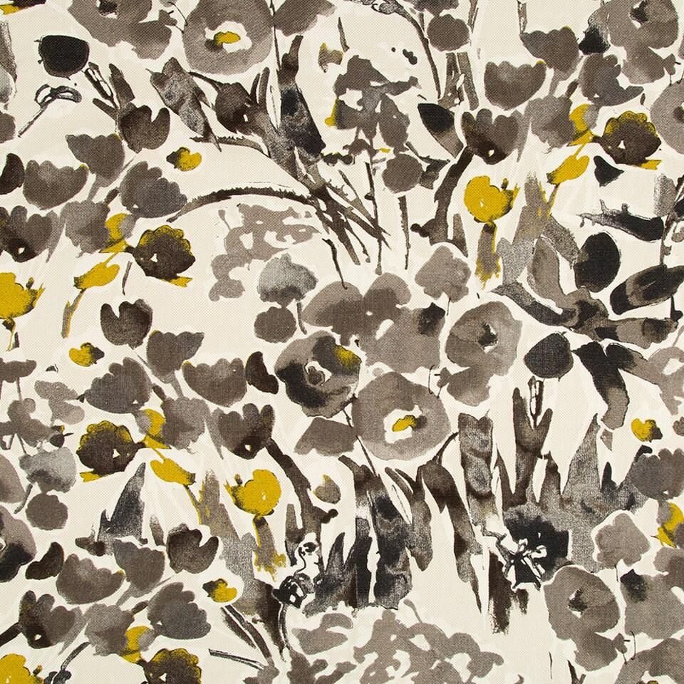 Mustard Yellow Floral Drapery Fabric Digital Print Fabric