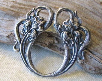 silver art nouveau iris brooch