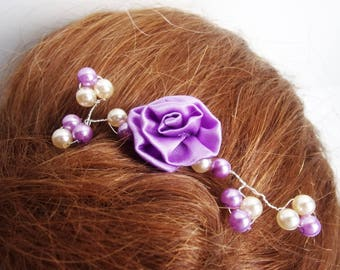 Ornemental comb/mauve comb,silvery comb,mauve flower in tissues,white pearls,mauve pearls,silvery wire,hand-made,marriage,accesory hair.