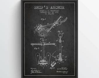 1892 Ships Anchor Patent Poster, Ships Anchor Poster, Ships Anchor Print, Patent Art Print, Patent Print, Home Decor, Gift Idea, NA01P