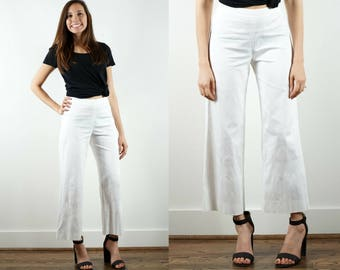 80s White High Waist Pants / Wide Leg Trousers / Minimalist Cropped Pants / White Wide Leg Pants / Ankle Pants / White High Waist Trousers