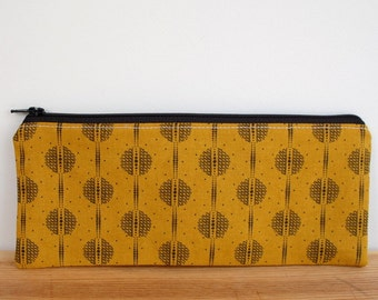 Boho Pencil Case, Gold Black Zipper Pouch, Back to School Supplies, Pencil Zipper Pouch, Cosmetic Bag, Gold Boho Zipper Pouch