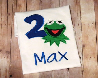 Personalized Kermit the Frog birthday shirt- perfect for Muppet cartoon themed birthday party!