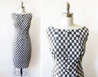 60s mod dress, vintage 1960 wool wiggle dress, black and white checkered dress, medium m