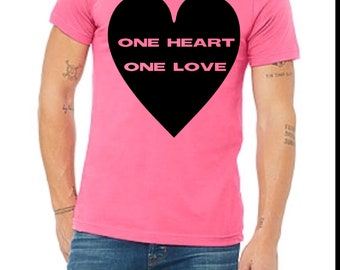 One heart one love adult tee // pride // equality // pride month // lgbtq pride //