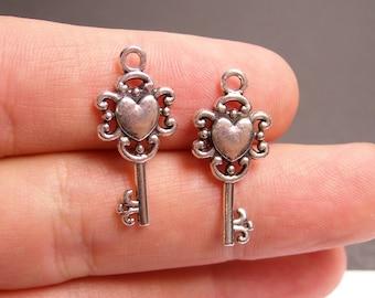 24 silver key charms - silver tone key charms  - 12 pcs -  ASA140