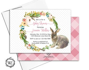 baby girl shower invitation bunny, floral wreath baby shower invites pink watercolor vintage, printable or printed - WLP00721