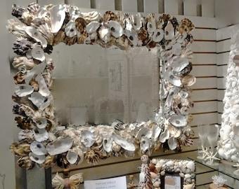Large MIRROR OYSTER SEASHELL Decorative Coastal Living or Dining Room Hall Wall Bathroom Beach Art Unique Mirror
