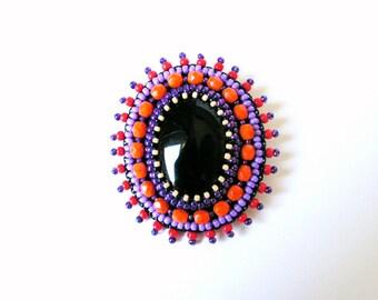 Black Orange Purple Brooch Embroidery Brooch Bead embroidered Brooch Beadwork Brooch Black Onyx Brooch MADE TO ORDER