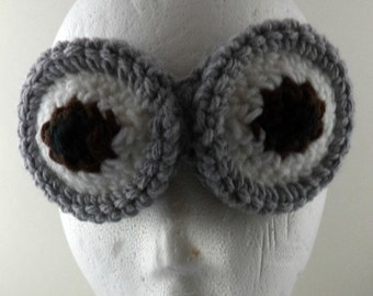 Crocheted Goggles Headband - The Minion (double) (SWG-HH-GGMINI01)