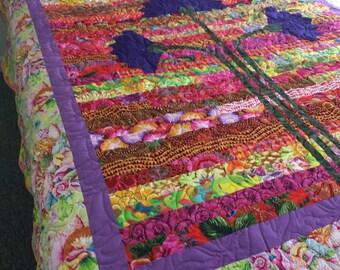 homemade quilt, BOHEMIAN EARY BLOOMS, queen quilt